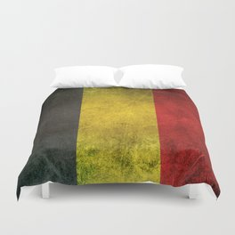 Old and Worn Distressed Vintage Flag of Belgium Duvet Cover