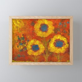 Sunflowers with a golden sun Framed Mini Art Print