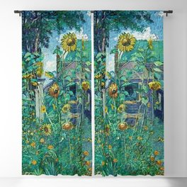 Sunflowers & Artist's House, Hampton Bays by David Davidovich Burliuk Blackout Curtain