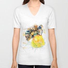 the honey bee and the daisy Unisex V-Neck