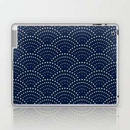Japanese Blue Wave Seigaiha Indigo Super Moon Pattern Laptop & iPad Skin