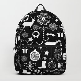 Christmas seamless pattern new year elements on black background Backpack