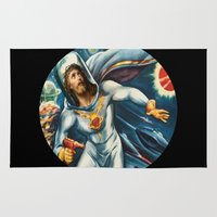 spaceman Area & Throw Rugs featuring Spaceman Jesus by Saint Lepus