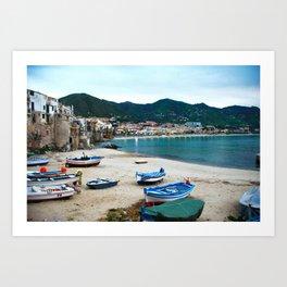 Boats on Beach at Cefalu Italy Art Print