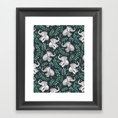 Laughing Baby Elephants – emerald and turquoise Framed Art Print