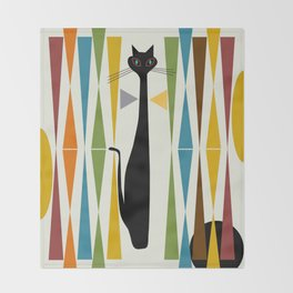 Mid-Century Modern Art Cat 2 Throw Blanket