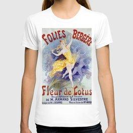 Folies Berg Res Fleur De Lotus 1893 By Jules Cheret | Reproduction Art Nouveau T-shirt