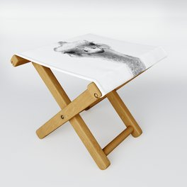 Black and White Ostrich Illustration Folding Stool