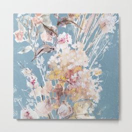Square cut: Subtle Bouquet with White Flowers in the Blue Metal Print