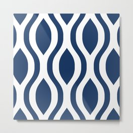 Pretty Ogee Pattern 375 Navy Blue Metal Print