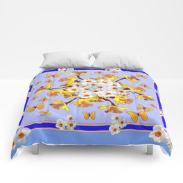"""""""Joy Of Spring"""" Daffodils in Blue Shades Comforters"""