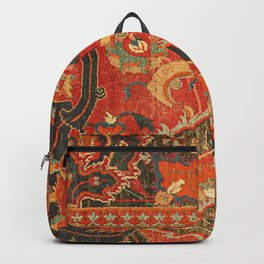 Red Arabic Rug I // 17th Century Colorful Firey Red Light Teal Sapphire Navy Blue Ornate Pattern Backpack