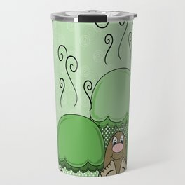 Cute Monster With Green Frosted Cupcakes Travel Mug