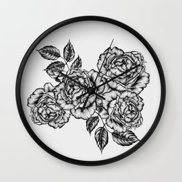 Ink roses in grey Wall Clock
