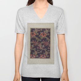 Verneuil - Japanese paper and fabric designs (1913) - 37: Birds and camellias Unisex V-Neck