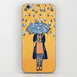 Rainy day girl iPhone Skin