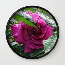 Rose After the Rain Wall Clock