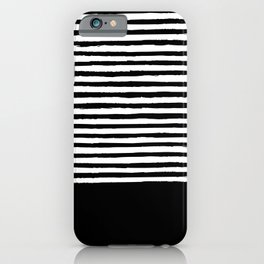 geometric art pattern with medium lines, black and white background iPhone Case