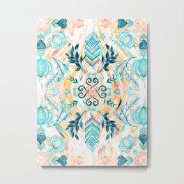 Abstract Painted Boho Pattern in Cyan & Teal Metal Print