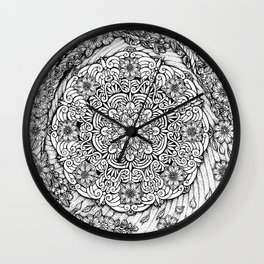 Cherry Blossoms Mandala by Kent Chua Wall Clock