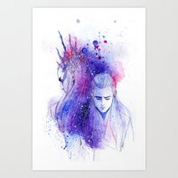 legolas Art Prints featuring Thranduil and Legolas by Kinko-White