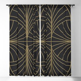 Diamond Series Inter Wave Gold on Charcoal Blackout Curtain