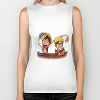 luffy Biker Tanks featuring Luffy And Naruto eating Ramen by mannynunez