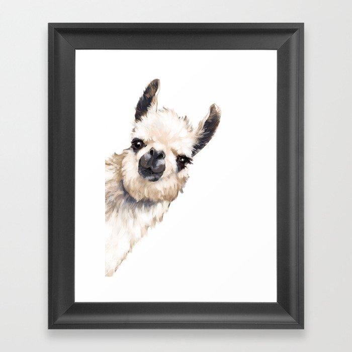 Sneaky Llama White Gerahmter Kunstdruck
