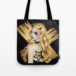 Golden Devil - Devil girl stylized vector portrait Tote Bag