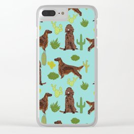 Irish Setter cactus southwest desert dog breed cute gift for dog lover pupper portrait pattern gifts Clear iPhone Case