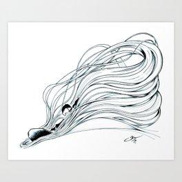 'Snowboader in Ribbons of Snow I' Art Print