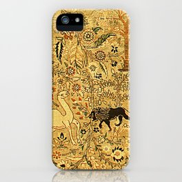 Antique Persian Tabriz Animal Rug Print iPhone Case