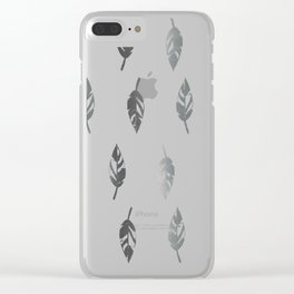 Lightly Feathered Boho Chic Farmhouse Grey Feather Print Clear iPhone Case