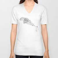 breaking V-neck T-shirts featuring Bubbles the Snow Leopard by Darel Seow