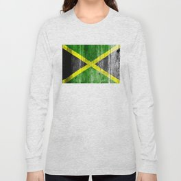 Jamaica Flag Grungy Distressed Board Long Sleeve T-shirt