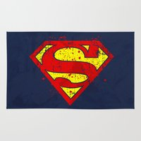 supergirl Area & Throw Rugs featuring Super Man's Splash by Sitchko Igor