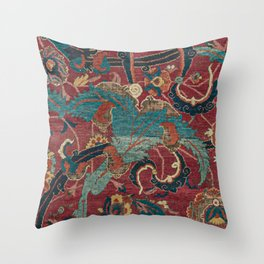 Flowery Arabic Rug I // 17th Century Colorful Plum Red Light Teal Sapphire Navy Blue Ornate Pattern Throw Pillow