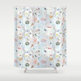 Shells - Natural Pattern - Casart Sea Life Treasures Collection Shower Curtain