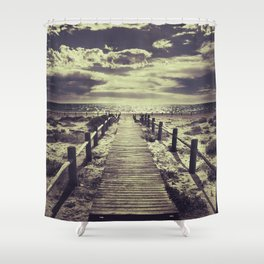 To the beach.... Shower Curtain