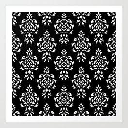 Crest Damask Repeat Pattern White on Black Art Print