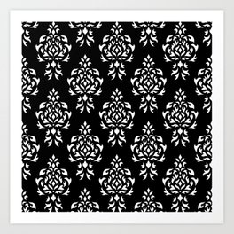 Crest Damask Repeat Pattern White on Black Art Print
