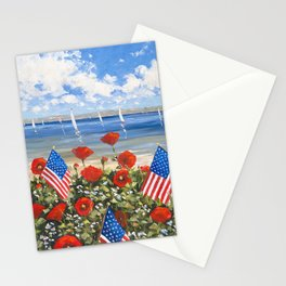 July 4th Poppies Stationery Cards