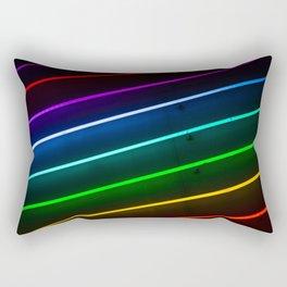 Rainbow Neon Stripes Rectangular Pillow