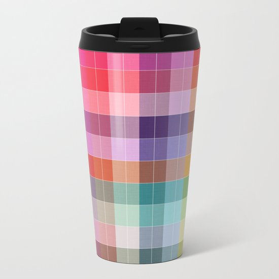 Bright Plaid Metal Travel Mug