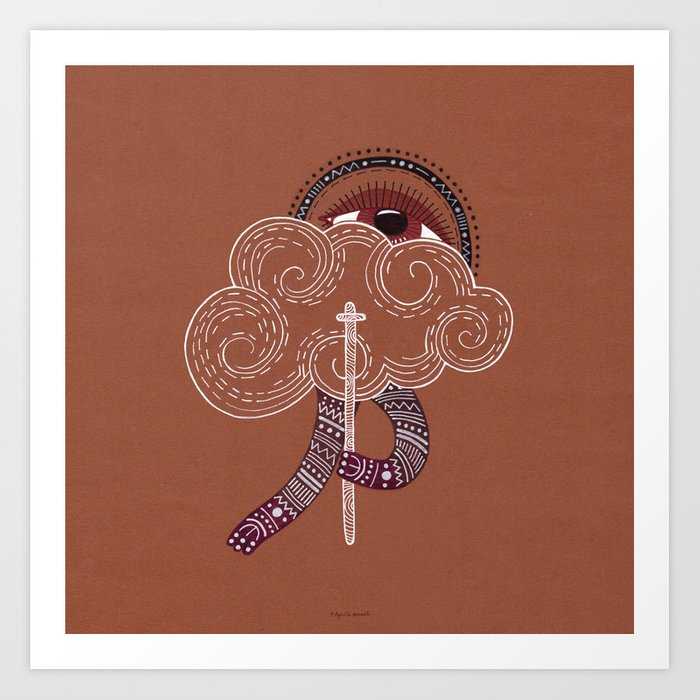 surreal creatue with cloud mask Art Print