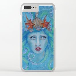 ocean princess Blue siren with octopus tentacles for hair star fish pearls and bubbles Clear iPhone Case