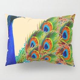 BLUE PEACOCK CREAM COLOR ART Pillow Sham