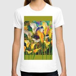 Ivory & Golden  Color Calla Lilies Avocado Art T-shirt