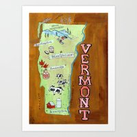 vermont Art Prints featuring VERMONT by Christiane Engel