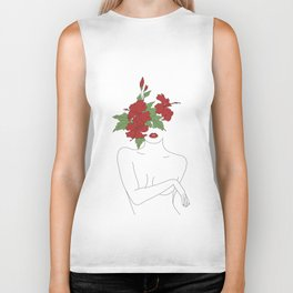 Minimal Line Art Woman with Hibiscus Biker Tank